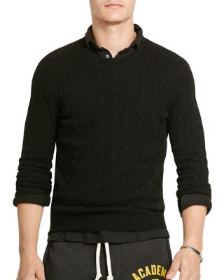 Polo Ralph Lauren Men's Cable-knit Cashmere Sweater In Polo Black