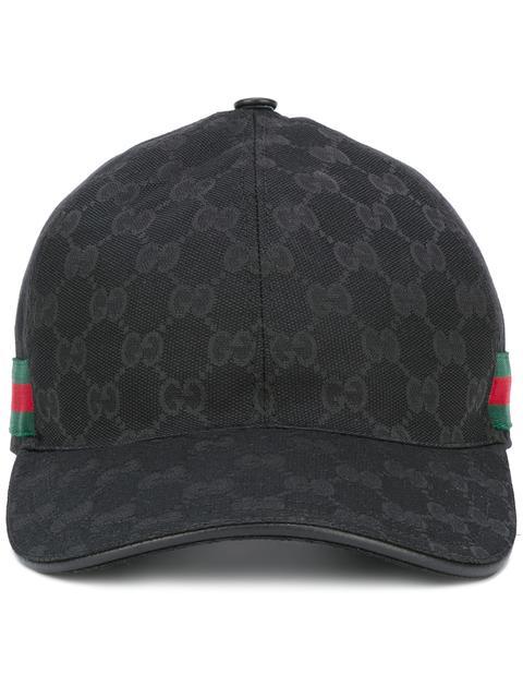 aeca421a4a6f79 Gucci Webbing-Trimmed Monogrammed Canvas Baseball Cap In Black ...
