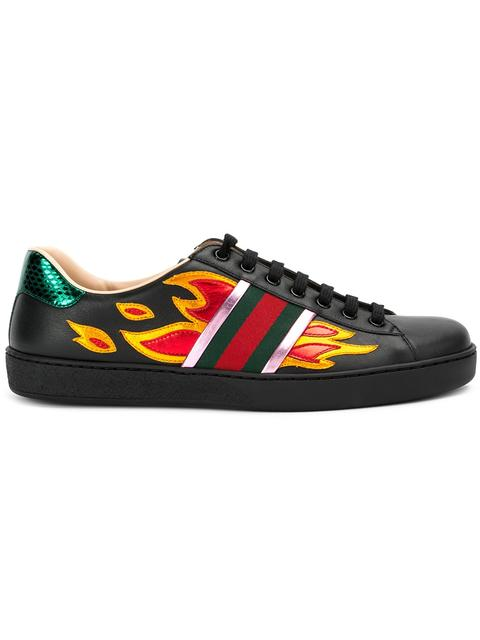 7f13ef44f Gucci 'New Ace Flames' Sneaker With Genuine Snakeskin Detail (Men) In Black