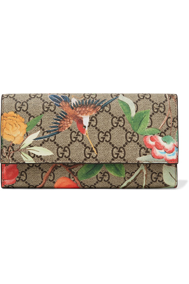 Gucci Printed Coated-canvas Continental Wallet In Grey