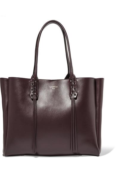 Lanvin Burgundy Leather Small Shopper Bag In Blue