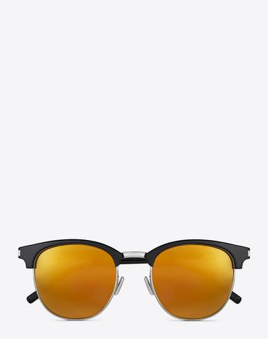 8d83acb50d CLASSIC SL 108 SUNGLASSES IN SHINY BLACK ACETATE WITH GOLD MIRRORED LENSES