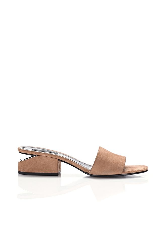 3fc2ff311f Alexander Wang Lou Low Heel Sandals In Clay Goatskin Leather In Nude &  Neutrals