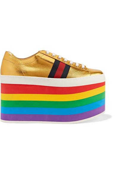 a3252249b0c Gucci Peggy Metallic Leather Platform Sneakers In Gold