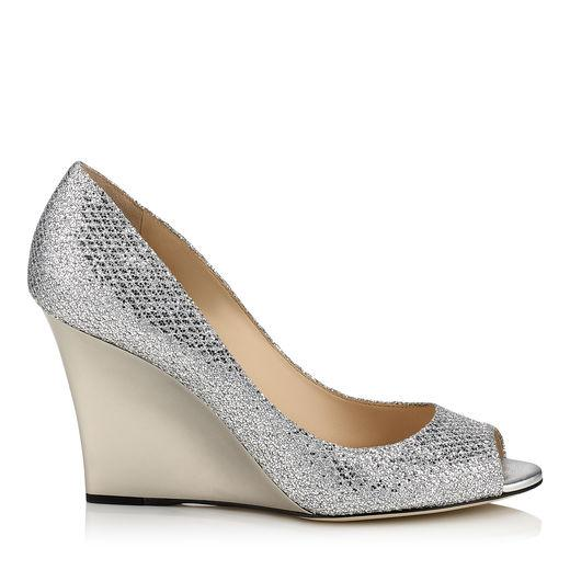 Jimmy Choo Baxen Silver Glitter Fabric Peep Toe Wedges In Anthracite