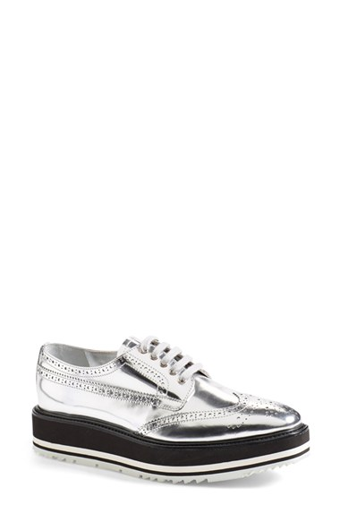 Prada Winged Oxford (women) In Silver Leather