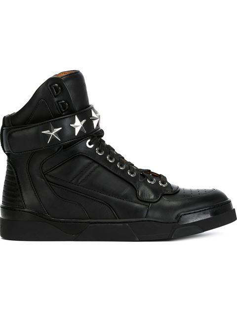 Givenchy Tyson Stars Leather High Top Sneakers, Black In 001