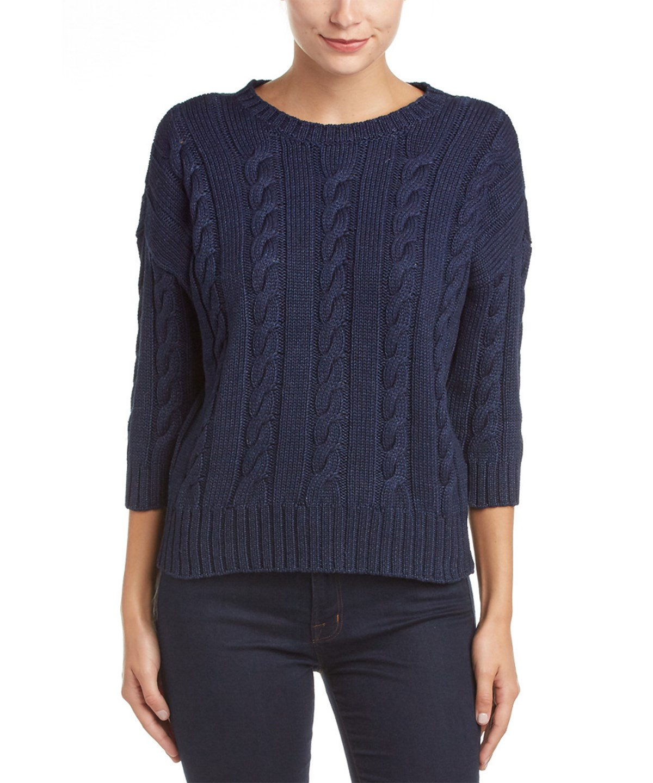Three Dots Miranda 3/4-sleeve Cropped Sweater In Blue