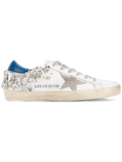 Golden Goose White Diamond Superstar Sneakers In Blue Diamon