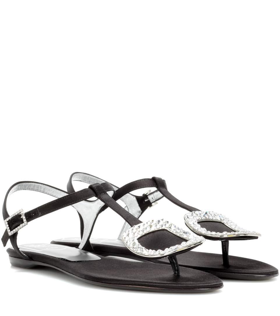 Roger Vivier Thong Chips Flat Satin Sandals, Black (nero)
