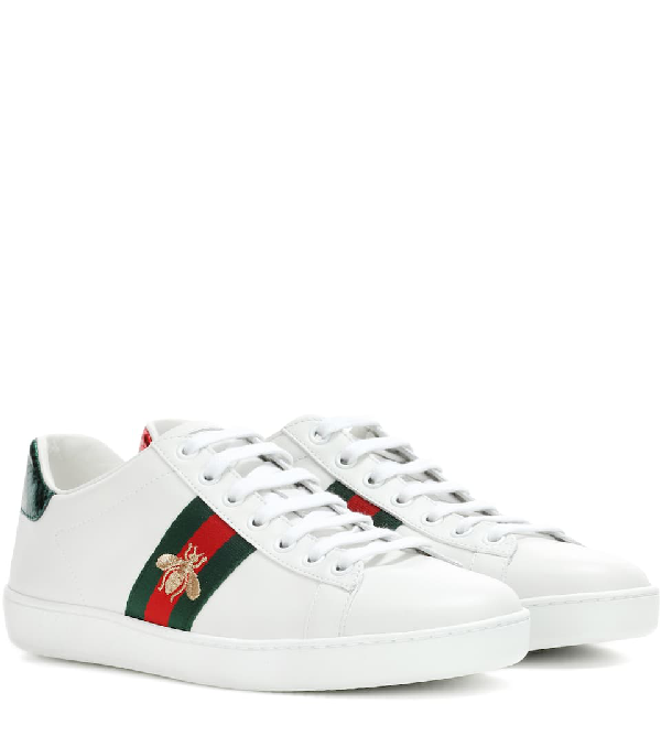 Gucci Ace Watersnake-trimmed Embroidered Leather Sneakers In White Leather
