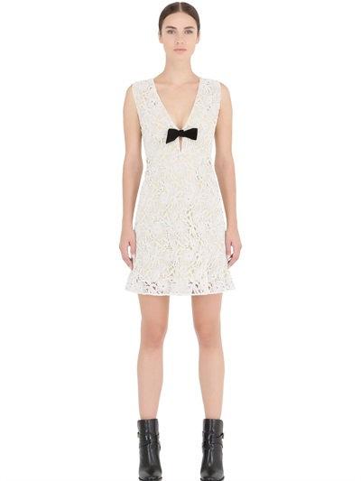 Burberry White & Yellow Floral Macrame V-neck Dress