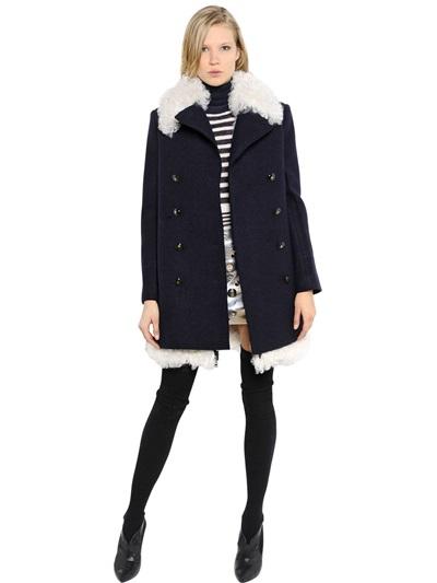 Sonia Rykiel Shearling & Boiled Wool Coat In Navy/white