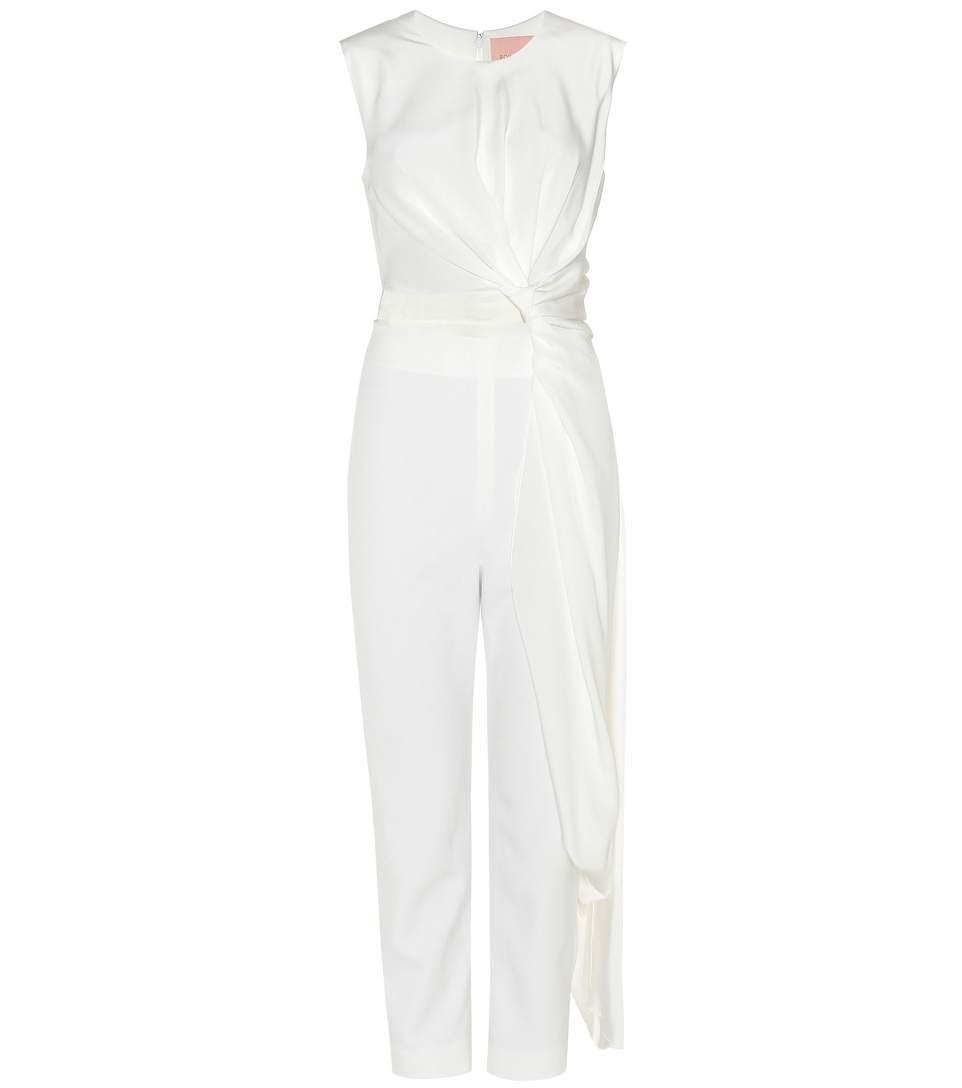 674ff87d8bb9 Roksanda Thurloe Draped Cutout Jersey And Crepe Jumpsuit In Ivory ...