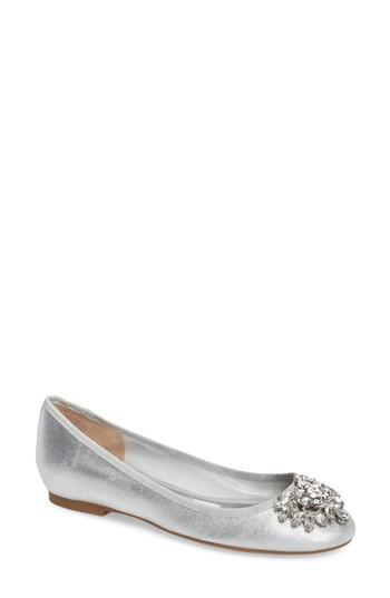 Badgley Mischka Bianca Embellished Ballet Flat In Silver Metallic Suede
