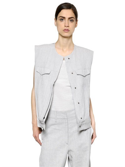 Maison Margiela Coated Linen Vest In Off White