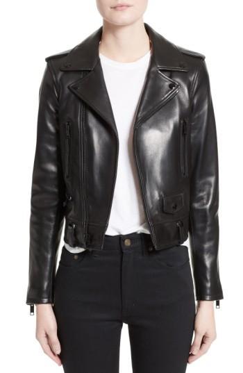 Saint Laurent Classic Leather Biker Jacket In Black