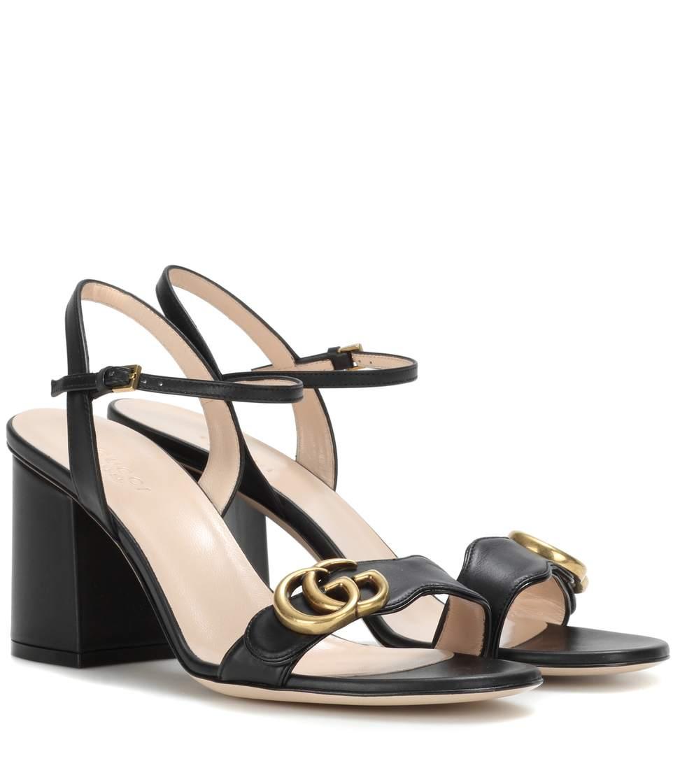 Gucci Marmont Logo-Embellished Leather Sandals In Black