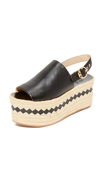 94e8f5b3989 Tory Burch Dandy Black Veg Leather Wedge Espadrille Sandal