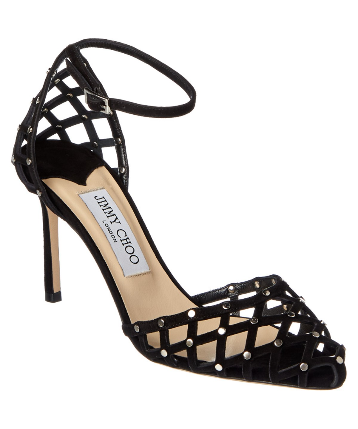 Jimmy Choo Davinia 85 Black Suede Pointy Toe Shoe Sandals With Crystal Studs