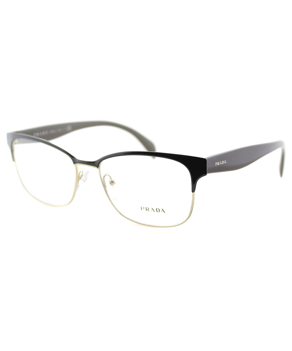 Prada Rectangle Metal Eyeglasses In Brown On Pale Gold