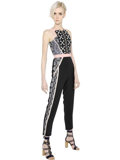 Peter Pilotto Crepe & Jacquard Jumpsuit With Lace In Black/pink