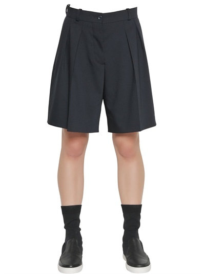 Jil Sander Pleated Stretch Cool Wool Shorts In Navy