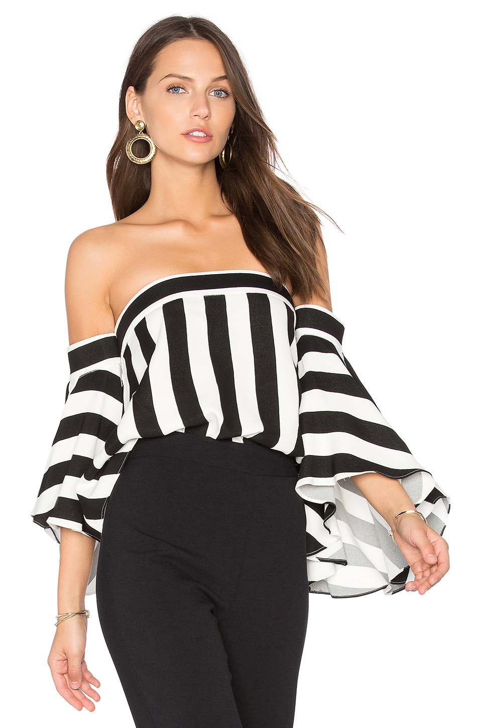 4452fb113e1d14 Milly Rosa Striped Off-The-Shoulder Top In Black White