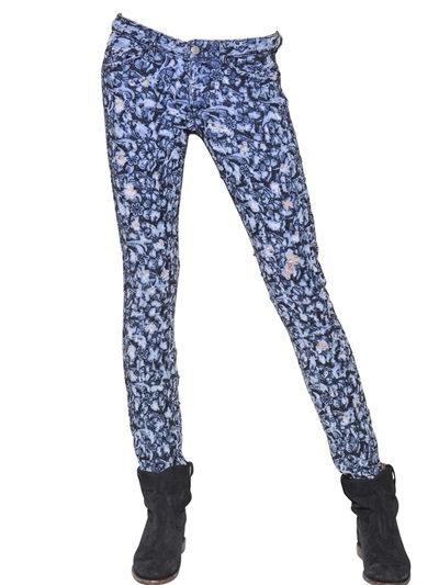 Isabel Marant Destroyed Embroidered Denim Jeans In Blue