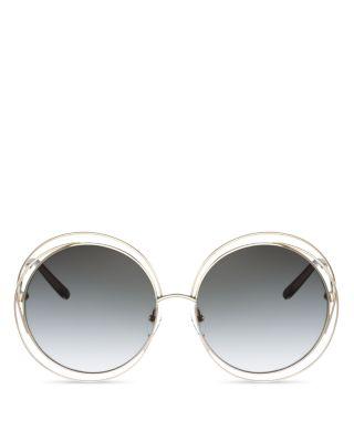40b75e18bdb7 ChloÉ Women's Carlina Round Oversized Sunglasses, 62Mm In Gold/Gray Gradient