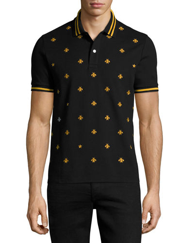 e6d4a4cf2eb8 Gucci Bee-Embroidered Slim-Fit Stretch-Cotton Polo Shirt In Blue ...