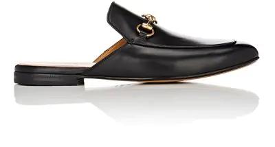 Gucci Men's Genuine Leather Slippers Sandals  Slipper In Black