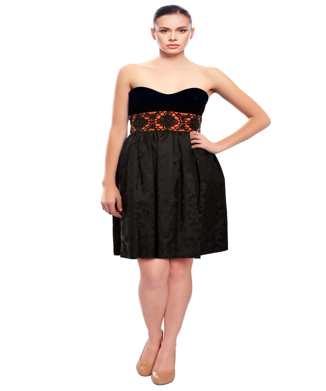 Escada Velvet Jacquard Beaded Dress' In Black/coral