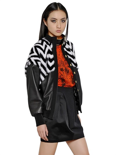 Emanuel Ungaro Mink And Nappa Leather Jacket In Black/white