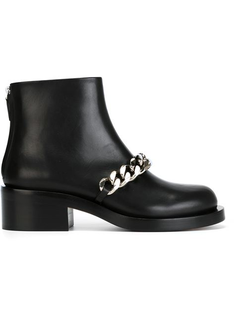 Givenchy Laura Chain-trimmed Leather Ankle Boots In 001 Black