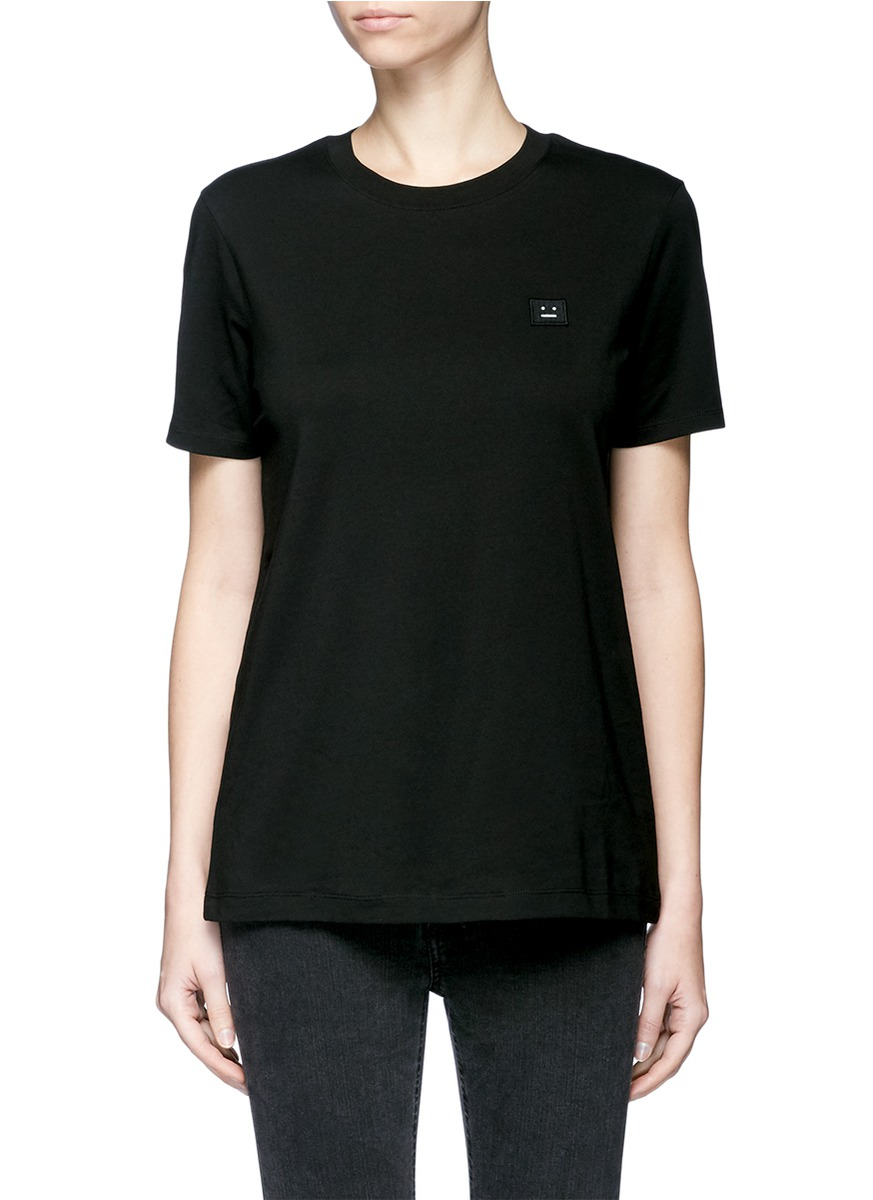 320aa12950ef9 Acne Studios  Taline  Face Patch Cotton T-Shirt In Llack