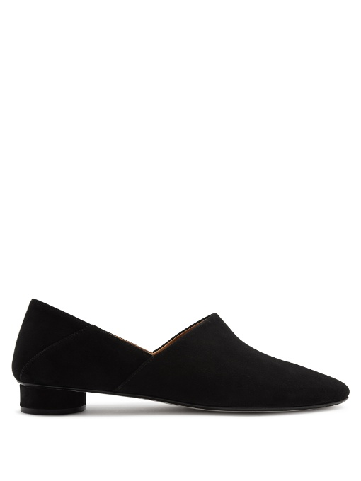 c616001749f The Row Noelle Suede Collapsible-Heel Loafers In Black