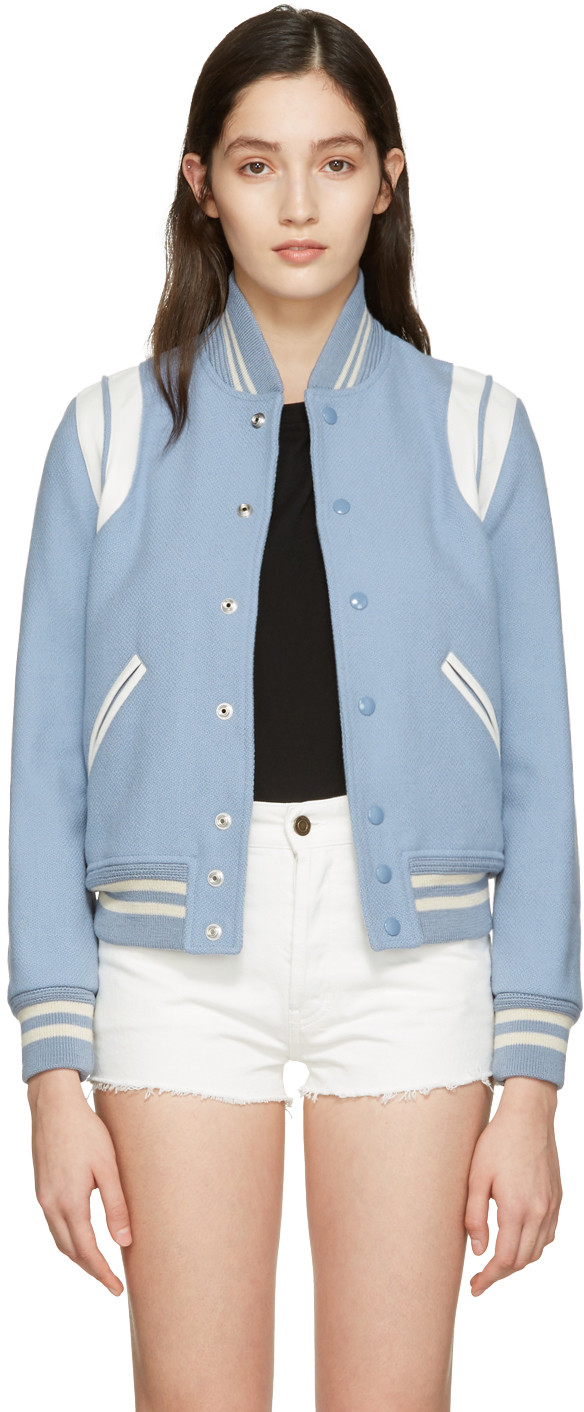 b934ac1b845 Saint Laurent Teddy Jacket In Blue-Grey Wool And Polyamide And White  Leather In Lt