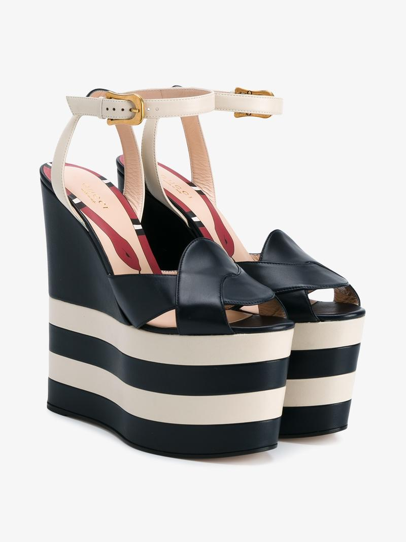 04f7d9a08524 Gucci Sally Striped Platform Wedge Sandal