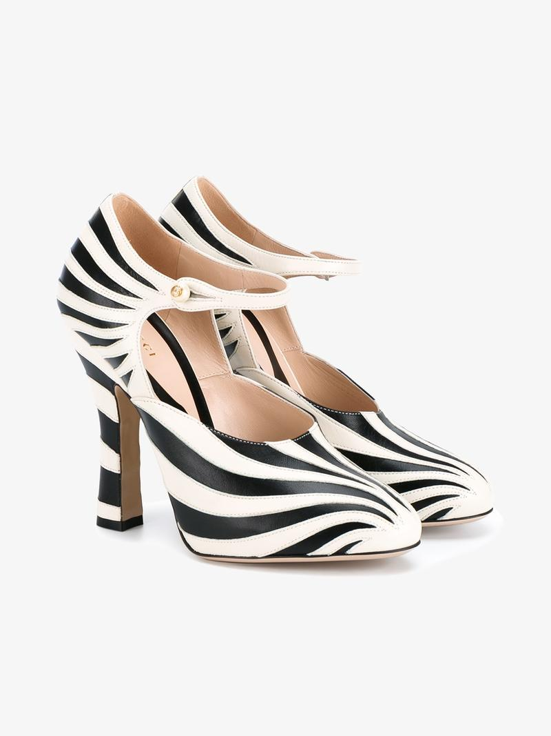 f01903015 Gucci Lesley Zebra-Inlay Mary Jane Pump, Black/White In Neutrals ...