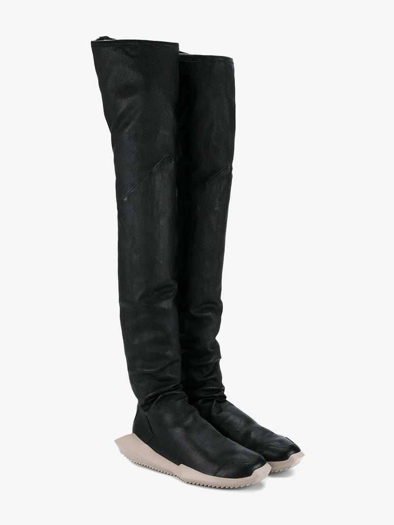 d09b9513cf7 Rick Owens Black Adidas Edition Stretch Tech Runner Over-The-Knee Boots