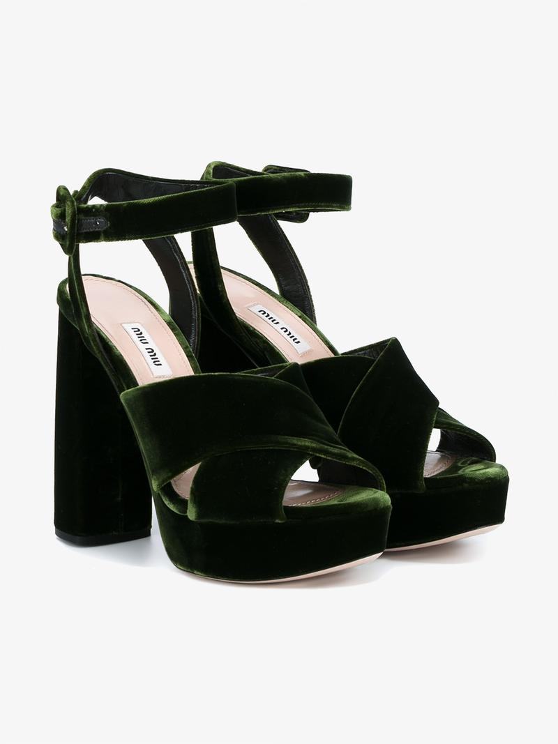 a177356c44c Miu Miu Velvet Block-Heel Platform Sandals In Olive-Green