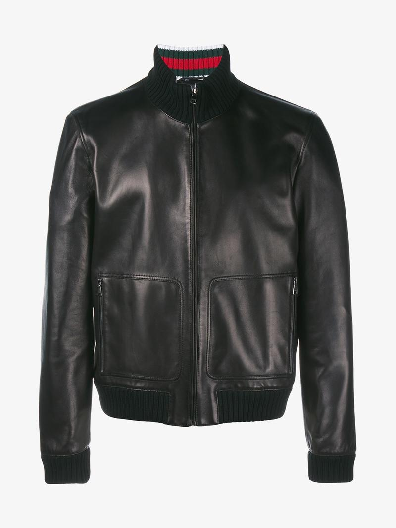 Gucci Leather Bomber Jacket - Black  54963a827