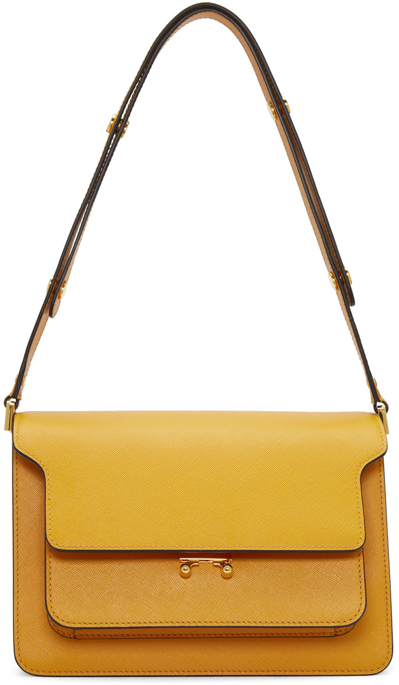 Marni Medium Trunk Saffiano Leather Bag, Orange