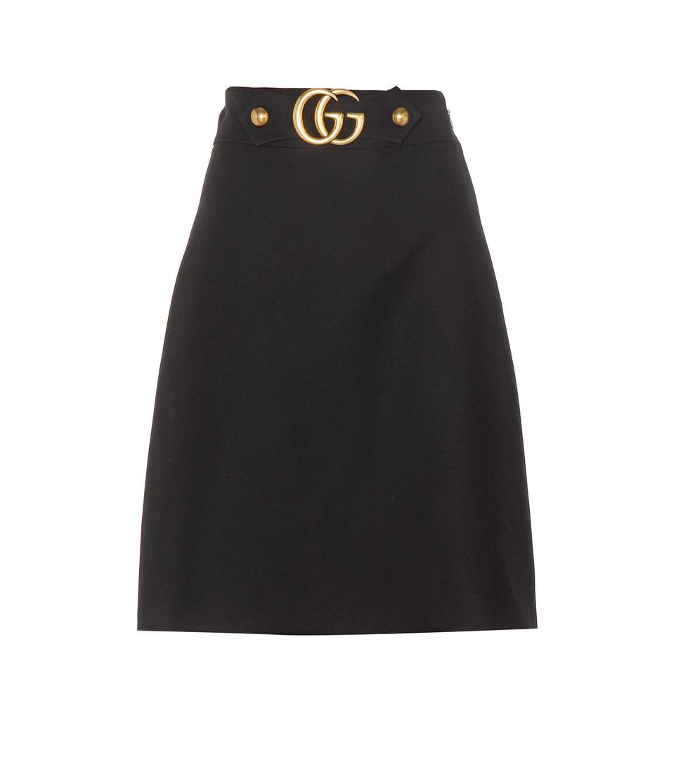 Gucci Embellished Wool And Silk-Blend Crepe Skirt In Llack