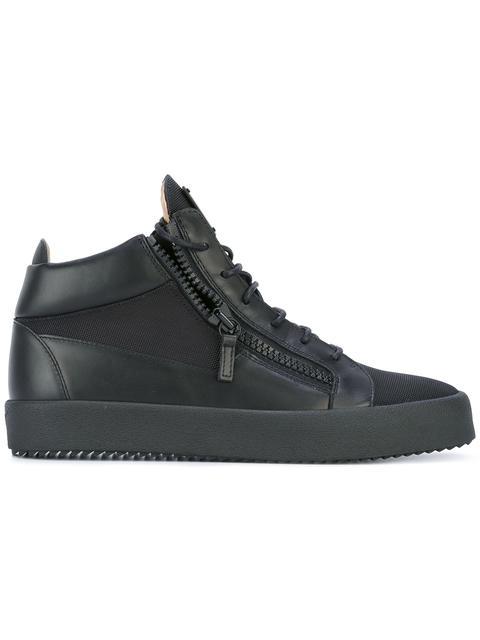 Giuseppe Zanotti - Leather Mid-top Sneaker Kriss In Black