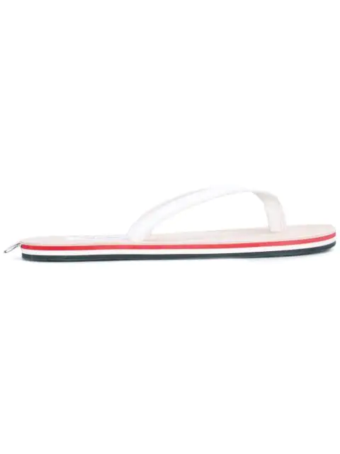 Thom Browne White & Tricolor Leather Sandals In Blue