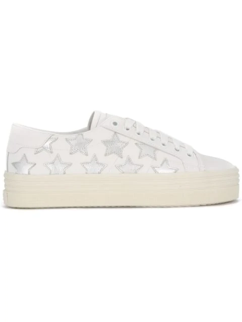 Saint Laurent Signature Court Classic Sl/39 California Platform Sneaker In Off White Leather And Silver Metallic L In 9058 Off White/silver