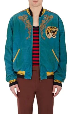 bfe04017 Gucci Dragon-Embroidered Corduroy Cotton-Blend Bomber Jacket In Blue ...