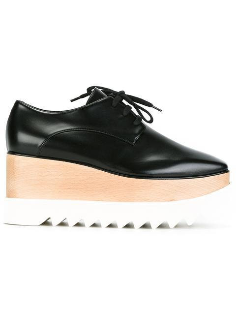 Stella Mccartney Elyse Faux Glossed-leather Platform Brogues In 1000 Black
